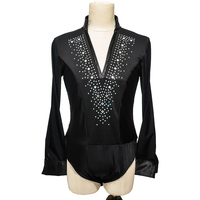 Latin Dance Top Rhinestone V Neck Men Dance Shirt Ballroom Latin Dancing Clothes Professional Competition Dancewear DNV10996