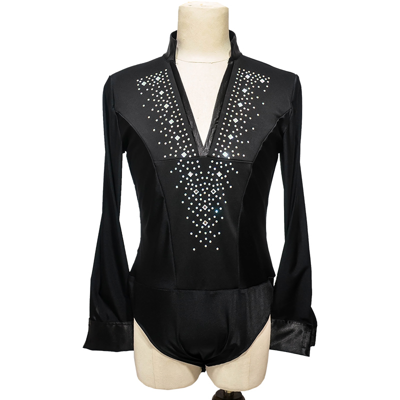 Latin Dance Top Rhinestone V-Neck Men Dance Shirt Ballroom Latin Dancing Clothes Professional Competition Dancewear DNV10996