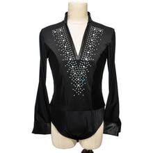 Latin Dance Top Rhinestone V Neck Men Dance Shirt Ballroom Latin Dancing Clothes Professional Competition Dancewear DNV10996
