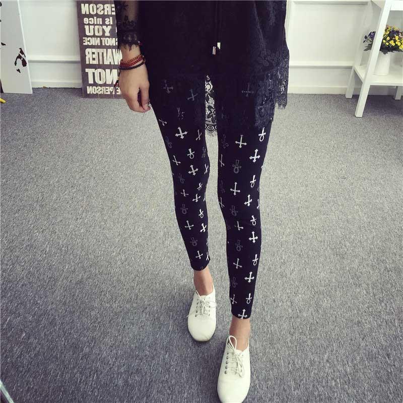 BIVIGAOS Spring Summer Womens Fashion Black Milk Thin Stretch leggings Colored Stars Graffiti Slim Skinny Leggings Pants Female 67