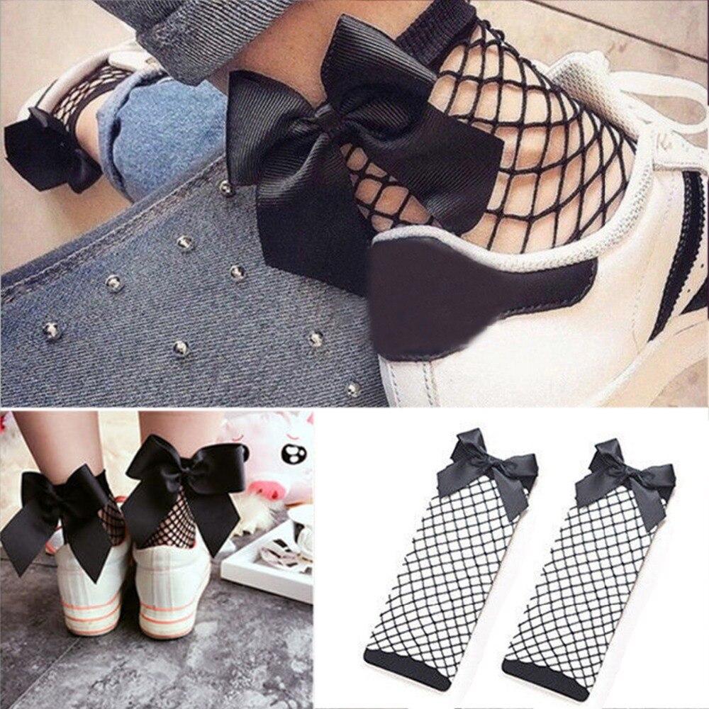 Bow Tie Cool Female Hollow Fishnet Socks Dress Sexy Bowknot Fishnets Socks Women Calcetines