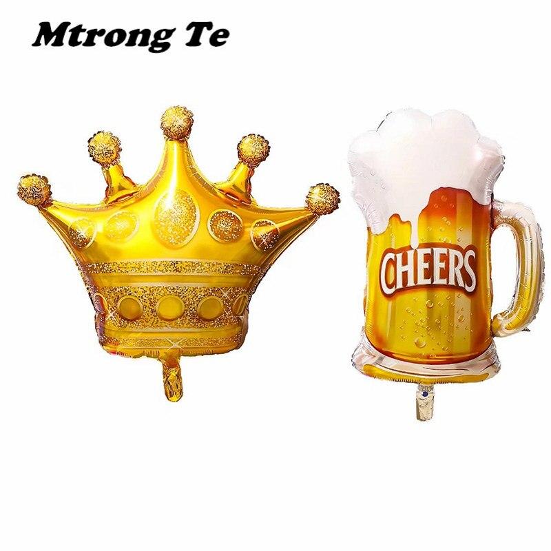 50 pcs/lot grande taille or princesse couronne bière Mug hélium feuille ballons fête d'anniversaire décorations carnaval fête Air Globos déco