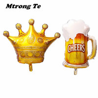 50pcs/lot Large Size Gold Princess Crown Beer Mug Helium Foil Balloons Birthday Party Decorations Carnival Party Air Globos Deco