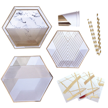 Pretty Peach Gold and Marble 89 Pcs Setting for 8 Deluxe Plates Napkins Cups Birthday Party Supply Wedding Bridal Shower
