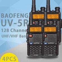 4PCS Baofeng UV 5R 5W ווקי טוקי UV 5R חזק חובבי חובבי CB רדיו תחנת UV5R Dual Band נייד משדר Hu