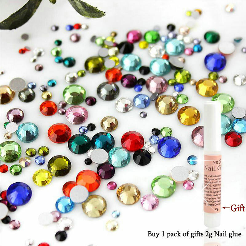Mixed Size&Colors 10g/Bag Nail Art Rhinestone SS6-SS30 Glass Flatback Non Hot Fix Rhinestones Glue On For Nails decorations