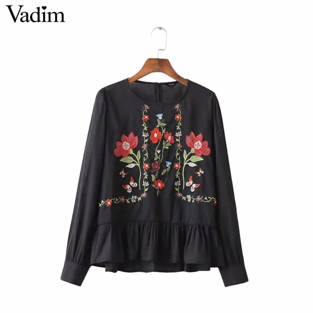 HTB1XCVdSXXXXXbGXXXXq6xXFXXXU - Women vintage flower embroidery shirts long sleeve