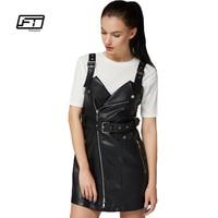 Fitaylor European Styl 2017 Spring Autumn Women Leather Dress Fashion Sexy Turn Down Collar Slim Retro