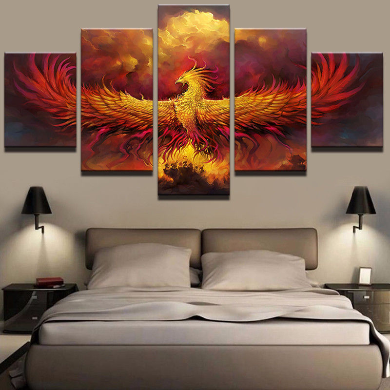 HD 5 Panel WALL DECOR Animal Phoenix Bird Comics Picture