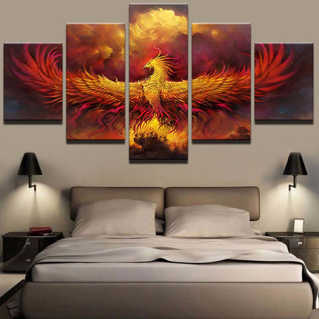 Hd 5 Panel Wall Decor Animal Phoenix Bird Comics Picture Canvas Painting Art Abstract Home