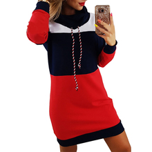 Women Autumn Winter Dresses Turtleneck Long Sleeve Hooded Plus Size Striped Colo