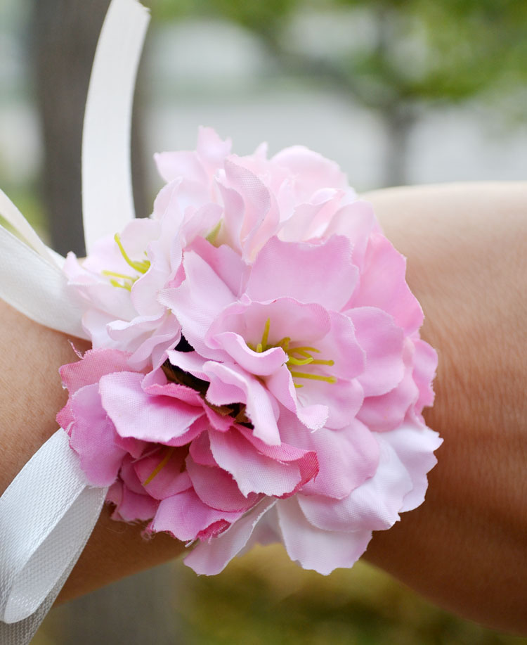 Ivory pink bride corsage wedding flower bridesmaid wrist flowers ivory pink bride corsage wedding flower bridesmaid wrist flowers artificial cherry blossoms wedding party women accessories in artificial dried flowers mightylinksfo