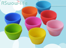 10pcs Silicone Baking Accessories Muffin Cup Round 7cm Cake Mold For Tools Cakes