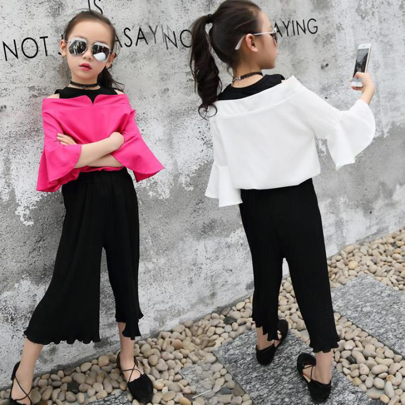 2018 New Clothing Sets Half Sleeve Shirt + Pants 2 Pcs Suit Child Kids Clothes Set Vetement Enfant Fille 6 7 8 9 10 11 12 13 14 2017 teenage girls clothing sets autumn letter print t shirts harem pants costume kids clothes vetement enfant fille 12 13 14