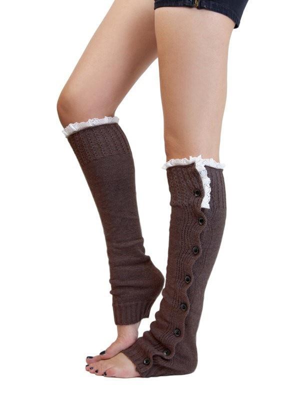 Womens Winter Knitted Leg Warmers w//Button