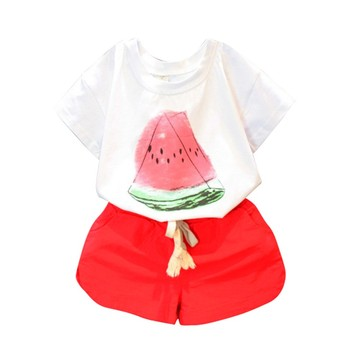 2 3 4 5 6 7 8 Year Girls Summer Clothes 2018 New Cotton Casual Kids Suits Watermelon Pattern Shirts Shorts Children Clothing Set conjuntos para niñas