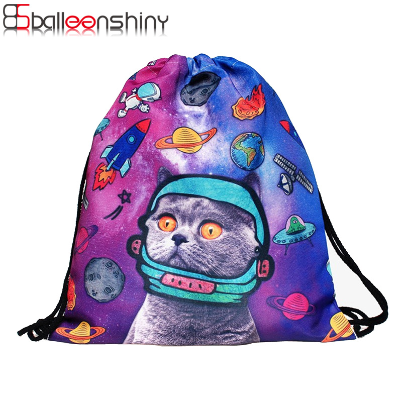 BalleenShiny Storage Bag 3D Cat Printed Fashion New Women Drawstring Toy Travel Shoe Laundry Makeup Pouch Organizer