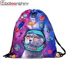Фотография BalleenShiny Storage Bag 3D Cat Printed Fashion New Women Drawstring Toy Travel Shoe Laundry Makeup Pouch Organizer