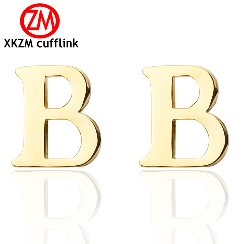 high quality men cuff links new french cufflinks golden plating brand letter b design style men