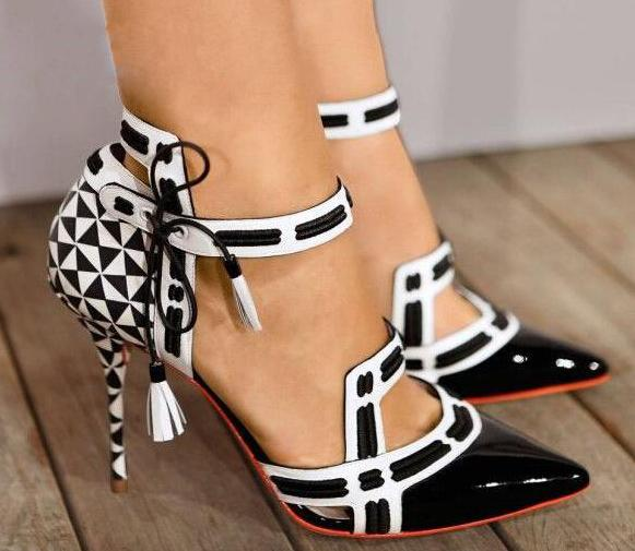 Fashion High Heels Ankle Strap Unique Party Shoes White/Black Straps Women Sexy Pumps Black Patent Leather Toe Ladies Size 42 hot selling fashion style ankle strap soft genuine leather casual shoes sexy high heels pumps party work dance shoes large size