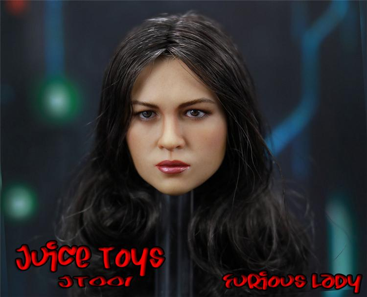Custom Furious Lady 1/6 female Head Model Long Hair For 12inch Phicen JIAOUL HOTTOY DOLLS Juice Toys JT001 figuresCustom Furious Lady 1/6 female Head Model Long Hair For 12inch Phicen JIAOUL HOTTOY DOLLS Juice Toys JT001 figures