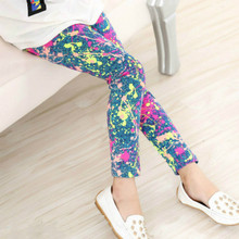 2016 Spring Summer New Fashion Children's 2-14 Year Cotton Pant Girls KidsTrousers Print Legging 18 Colors