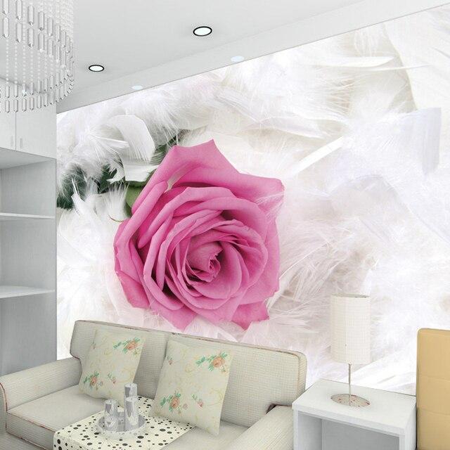 3d papier peint pour mur 3d tv fond papier peint plume d\'oie rose ...