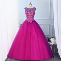 Jeweled Beaded Layered Tulle Fuchsia Purple Sweet 16 Ball Gowns Scoop Neckline Green Vestido De Quinceanera