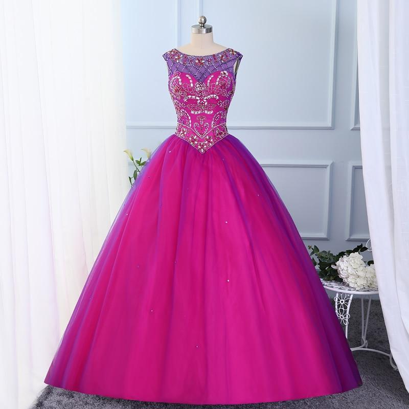 Jeweled beaded Layered Tulle Fuchsia Purple Sweet 16 Ball Gowns Scoop Neckline Green Vestido De Quinceanera 2017