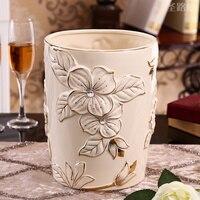 Европейский стиль Керамическая корзина для мусора дома гостиная зонтик ковш декоративный цветок украшение спальни корзина для мусора LO918246