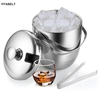 Stainless Steel Ice Bucket Home Bar Beer Wine Cooler Walled 3.5 Liter as Ice Container With Tongs Lid Ice Container