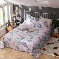 Modern Style Pink Grey Leaves Pattern Bed Sheet 3 Piece Flat Sheet Cotton Bedding Pillowcase Bedspreads 230x250cm Set 3 Size