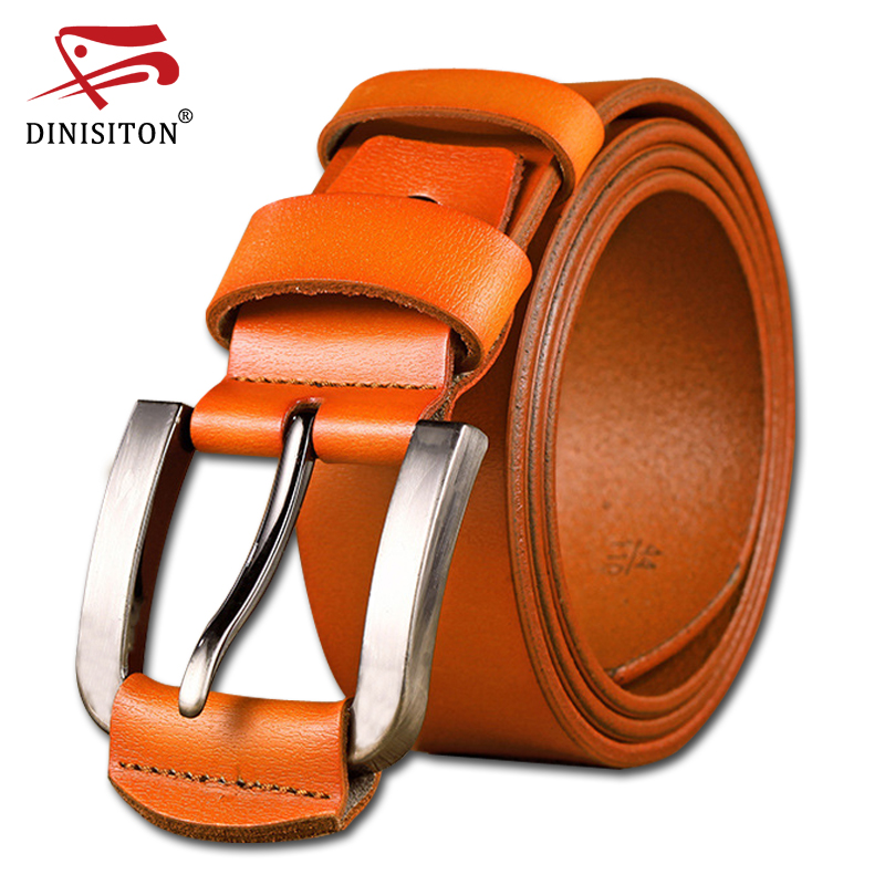 DINISITON hot man cow genuine leather belts for men new arrival high quality male pin buckle