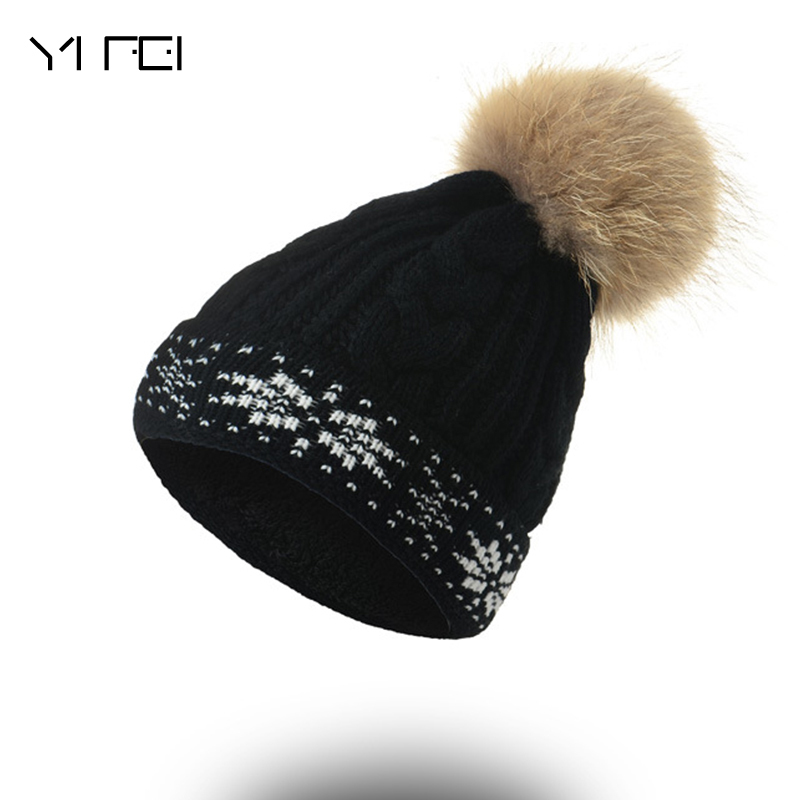 YIFEI Spring Winter Real Fur Hat Women Thicken Beanies Hats With Big Raccoon Fur Removable Pom Poms Knitting Velours Beanie Caps new star spring cotton baby hat for 6 months 2 years with fluffy raccoon fox fur pom poms touca kids caps for boys and girls