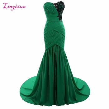 Linyixun Real Photo Green Chiffon Evening Dress 2017 Sweetheart Prom Gown With Appliques Sweep Train Sleeveless Robe de festa