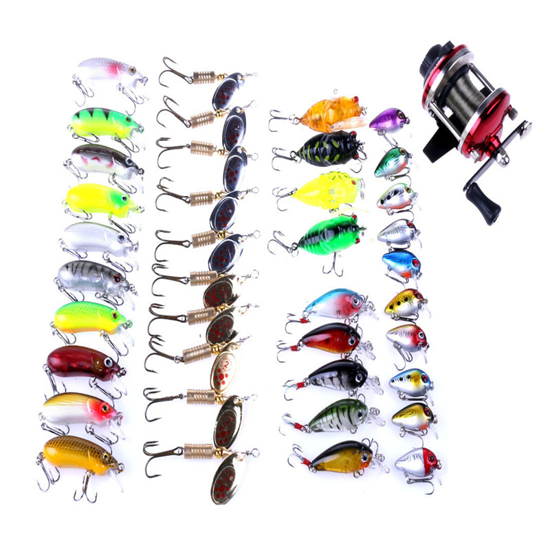 40 pcs Fishing Lures +1pc Fishing Vessel Fishing Line Bait Fake Product Suite for Meticulous workmanship, modeling realistic