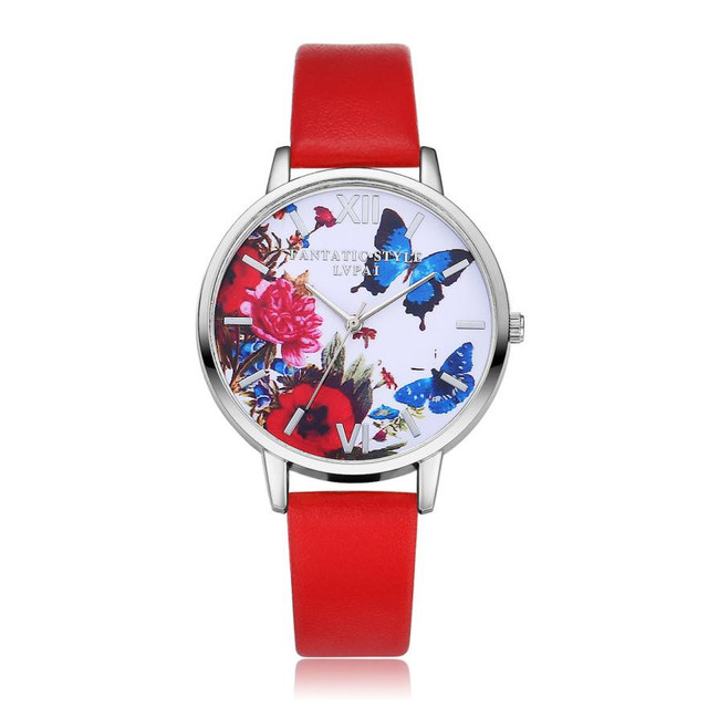 Hot fashion creative Leather Stainless women Steel mechanical Watches Women Quar