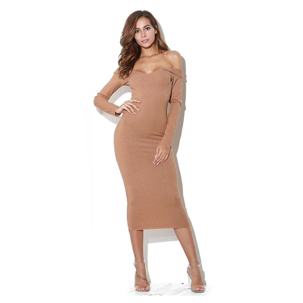 Long sleeve bodycon dress with tiered shoulder