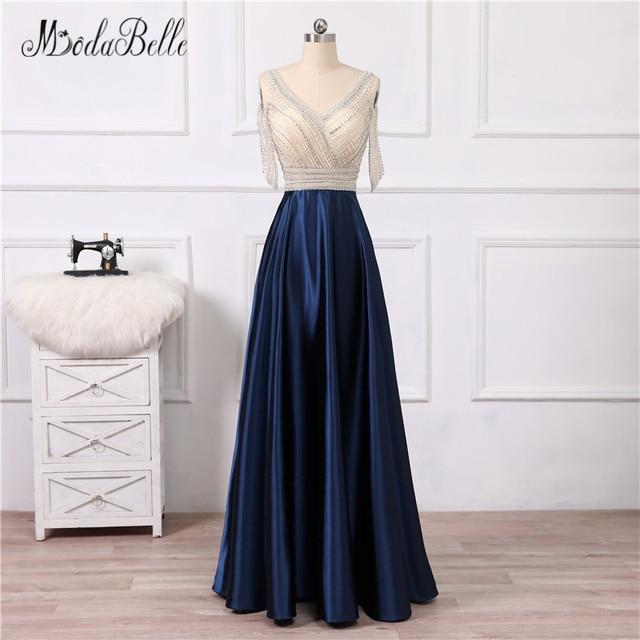 modabelle Vintage Beaded Navy Blue Prom Dresses Off The Shoulder Floor  Length Vesrido De Festa 2018 Rhinestone Evening Gown 324536d6a41f