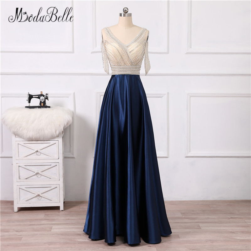 modabelle Vintage Beaded Navy Blue   Prom     Dresses   Off The Shoulder Floor Length Vesrido De Festa 2018 Rhinestone Evening Gown