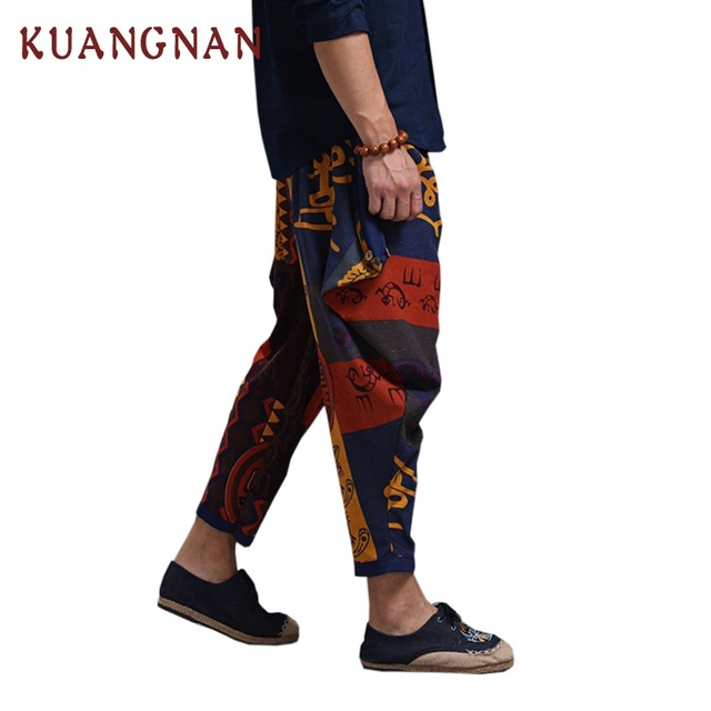 KUANGNAN Jogger Pants Men Cotton Linen Casual Pants Men Streetwear Cross-Pants Men Pantalon Homme One Size Trousers 2018 Summer 1