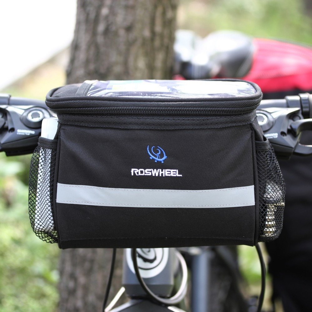 ROSWHEEL MTB Road Bike Handlebar Bag Cycling Front Basket Pannier Frame Waterproof Bicycle Bags With Broader Reflective Strap roswheel dry 3l cycling bike bicycle handlebar front basket pvc full waterproof bags bike accessories cycle pannier pouch 111361