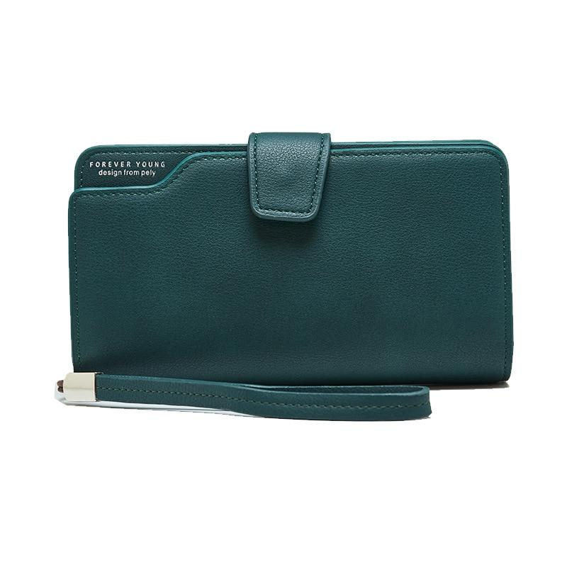 Женский кожаный кошелек, кошелек для отдыха, 3 сложения, высокое качество, Женский Длинный кошелек для монет, много слотов для карт, кошельки, Carteira Feminina - Цвет: Green