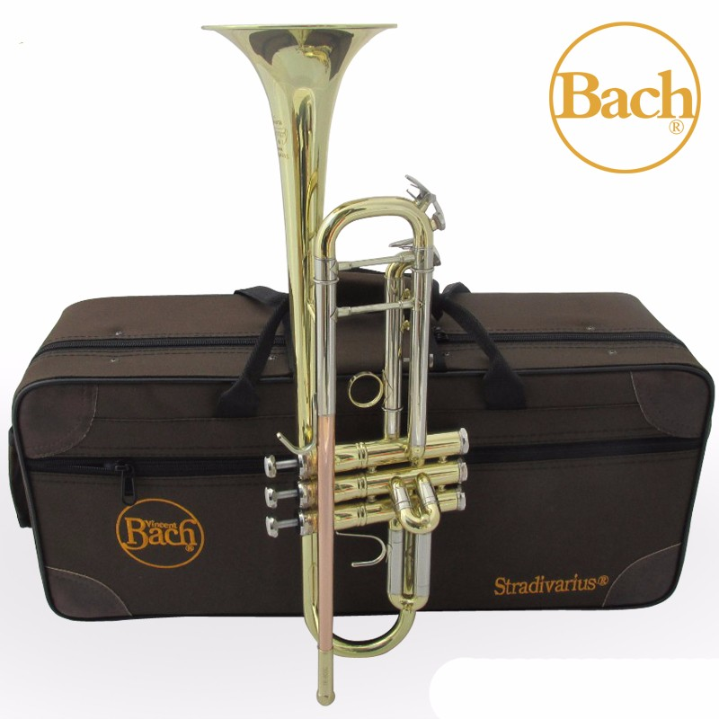 Trumpet Bach Bb Trumpet Lt180s-37 Silver Plated Gold Keys Music Instruments Profesional Trumpets Student Case Mouthpiece Accessories