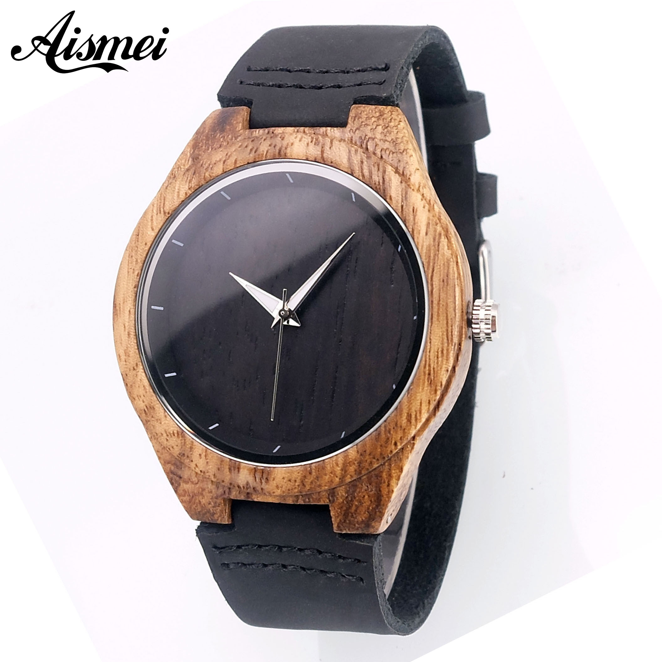 2018 Fashion Men Bamboo Wood Watch Unique Black Male Dress Watches with Genuine Leather Strap Quartz Analog Wooden Wristwatch unique handmade natural bamboo wood watch analog mens simple quartz wristwatch male genuine leather relogio masculino esportivo