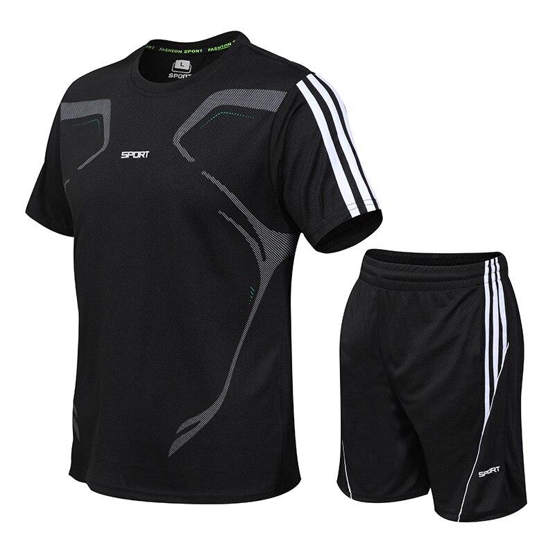Ensemble de manteau de sport pour hommes chemise de sport hommes short de course 2 pièces costume de sport pour le football fitness hommes vêtements de sport t-shirts ensembles