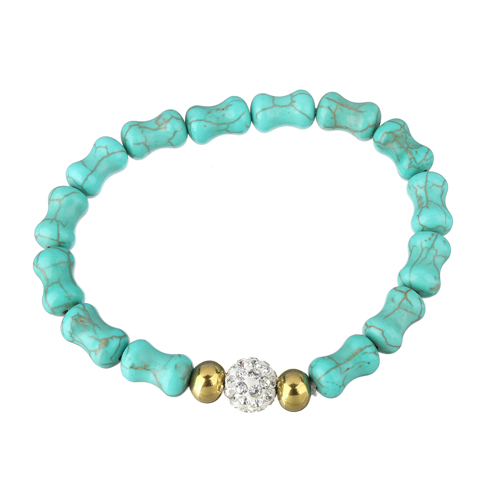 Fashion Bracelets Womens Jewelry Rhinestone Clay Pave Bead Stainless Steel Gold-color for woman Approx 8 Inch Strand