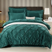 Фотография Wongsbedding Luxury Silk Pinch Pleat Bedding Set Solid Color Green Satin European Duvet Cover Queen Kings Beddings 3PCS