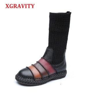 XGRAVITY Hot 2018 Anti-slip Women Snow Boots Elegant Genuine Leather Mixed Colors Lady Fashion Boots Vintage Ethnic Shoes A034