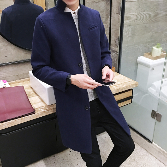 New 2019 Men's Boutique Fashion Pure Color Leisure In The Stand Collar Long Single-breasted Woolen Cloth Dust Coat / Mens Jacket 1